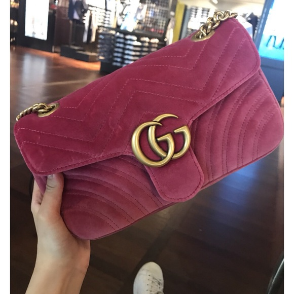 3aceae88617 Gucci Handbags - Gucci gg marmont lustrous raspberry velvet bag